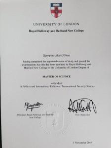 Degree certificate - MSc